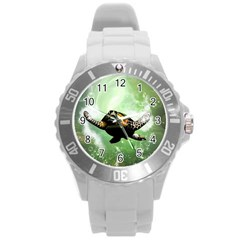 Beautiful Seaturtle With Bubbles Round Plastic Sport Watch (L)