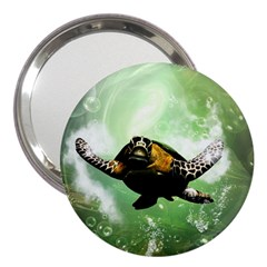 Beautiful Seaturtle With Bubbles 3  Handbag Mirrors