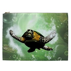 Beautiful Seaturtle With Bubbles Cosmetic Bag (XXL)