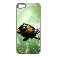 Beautiful Seaturtle With Bubbles Apple iPhone 5 Case (Silver)