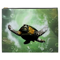 Beautiful Seaturtle With Bubbles Cosmetic Bag (XXXL)