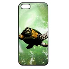 Beautiful Seaturtle With Bubbles Apple iPhone 5 Seamless Case (Black)