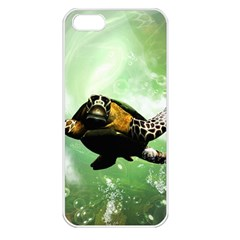 Beautiful Seaturtle With Bubbles Apple iPhone 5 Seamless Case (White)