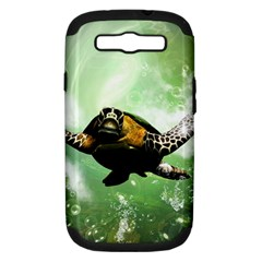 Beautiful Seaturtle With Bubbles Samsung Galaxy S III Hardshell Case (PC+Silicone)