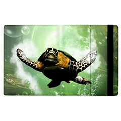 Beautiful Seaturtle With Bubbles Apple iPad 2 Flip Case