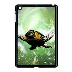 Beautiful Seaturtle With Bubbles Apple iPad Mini Case (Black)