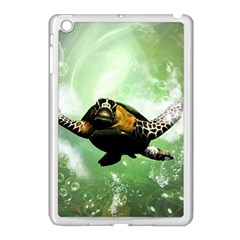 Beautiful Seaturtle With Bubbles Apple iPad Mini Case (White)