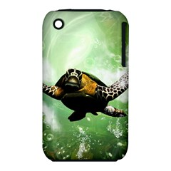 Beautiful Seaturtle With Bubbles Apple iPhone 3G/3GS Hardshell Case (PC+Silicone)