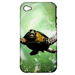 Beautiful Seaturtle With Bubbles Apple iPhone 4/4S Hardshell Case (PC+Silicone)