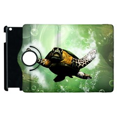 Beautiful Seaturtle With Bubbles Apple iPad 2 Flip 360 Case