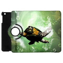 Beautiful Seaturtle With Bubbles Apple iPad Mini Flip 360 Case