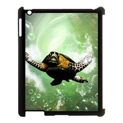 Beautiful Seaturtle With Bubbles Apple iPad 3/4 Case (Black)