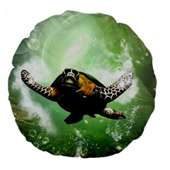 Beautiful Seaturtle With Bubbles Large 18  Premium Round Cushions