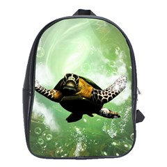 Beautiful Seaturtle With Bubbles School Bags (XL)