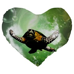 Beautiful Seaturtle With Bubbles Large 19  Premium Heart Shape Cushions