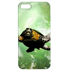 Beautiful Seaturtle With Bubbles Apple iPhone 5 Hardshell Case with Stand