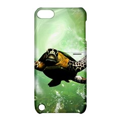 Beautiful Seaturtle With Bubbles Apple iPod Touch 5 Hardshell Case with Stand
