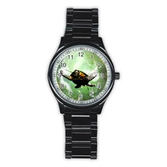 Beautiful Seaturtle With Bubbles Stainless Steel Round Watches