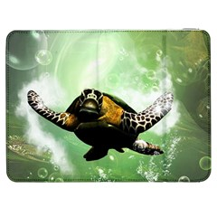 Beautiful Seaturtle With Bubbles Samsung Galaxy Tab 7  P1000 Flip Case
