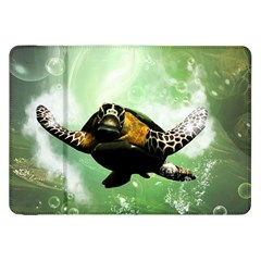 Beautiful Seaturtle With Bubbles Samsung Galaxy Tab 8.9  P7300 Flip Case