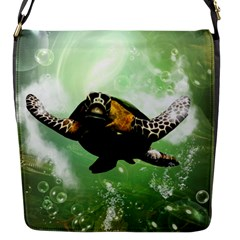 Beautiful Seaturtle With Bubbles Flap Messenger Bag (S)