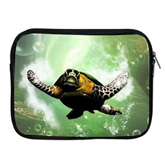 Beautiful Seaturtle With Bubbles Apple iPad 2/3/4 Zipper Cases