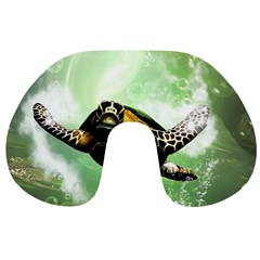 Beautiful Seaturtle With Bubbles Travel Neck Pillows