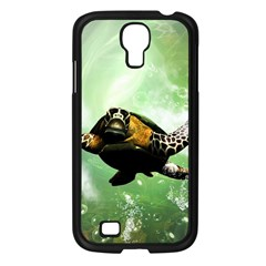 Beautiful Seaturtle With Bubbles Samsung Galaxy S4 I9500/ I9505 Case (Black)