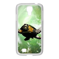 Beautiful Seaturtle With Bubbles Samsung GALAXY S4 I9500/ I9505 Case (White)