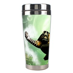 Beautiful Seaturtle With Bubbles Stainless Steel Travel Tumblers