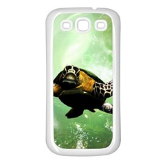 Beautiful Seaturtle With Bubbles Samsung Galaxy S3 Back Case (White)