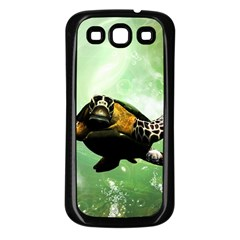 Beautiful Seaturtle With Bubbles Samsung Galaxy S3 Back Case (Black)