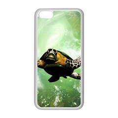 Beautiful Seaturtle With Bubbles Apple iPhone 5C Seamless Case (White)