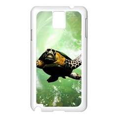 Beautiful Seaturtle With Bubbles Samsung Galaxy Note 3 N9005 Case (White)