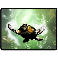 Beautiful Seaturtle With Bubbles Double Sided Fleece Blanket (Large)