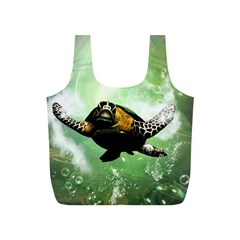 Beautiful Seaturtle With Bubbles Full Print Recycle Bags (S)