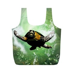Beautiful Seaturtle With Bubbles Full Print Recycle Bags (M)