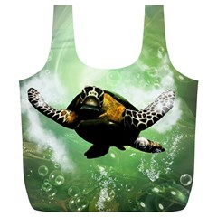 Beautiful Seaturtle With Bubbles Full Print Recycle Bags (L)