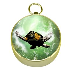 Beautiful Seaturtle With Bubbles Gold Compasses