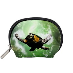 Beautiful Seaturtle With Bubbles Accessory Pouches (Small)