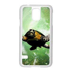 Beautiful Seaturtle With Bubbles Samsung Galaxy S5 Case (White)