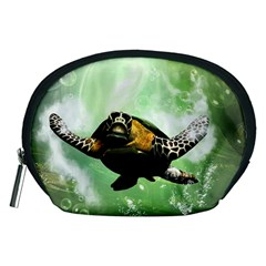 Beautiful Seaturtle With Bubbles Accessory Pouches (Medium)