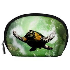 Beautiful Seaturtle With Bubbles Accessory Pouches (Large)