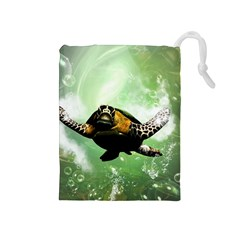 Beautiful Seaturtle With Bubbles Drawstring Pouches (Medium)