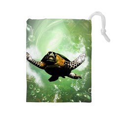 Beautiful Seaturtle With Bubbles Drawstring Pouches (Large)