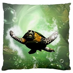 Beautiful Seaturtle With Bubbles Large Flano Cushion Cases (One Side)