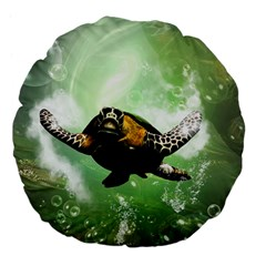 Beautiful Seaturtle With Bubbles Large 18  Premium Flano Round Cushions