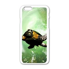 Beautiful Seaturtle With Bubbles Apple iPhone 6/6S White Enamel Case