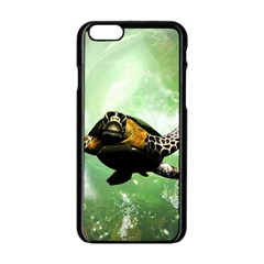 Beautiful Seaturtle With Bubbles Apple iPhone 6/6S Black Enamel Case