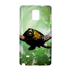 Beautiful Seaturtle With Bubbles Samsung Galaxy Note 4 Hardshell Case